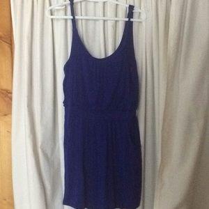A blue mini dress